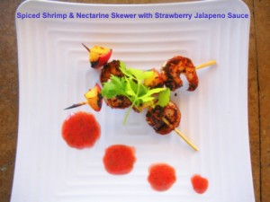 Spiced Shrimp & Nectarine Skewer with Strawberry Jalapeno Sauce